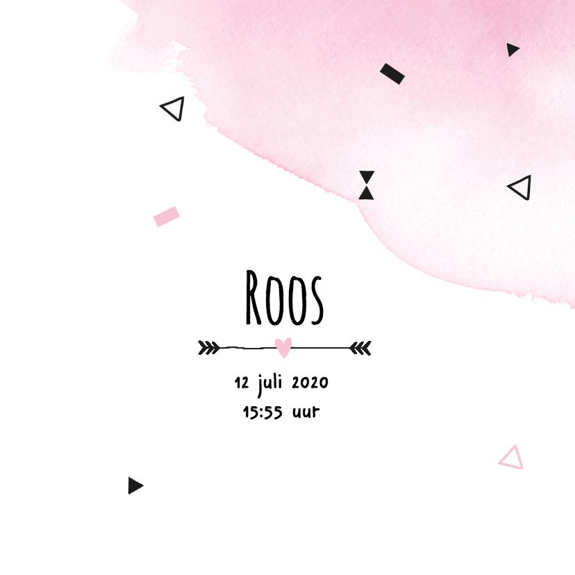 Geboortekaartje watercolour Roos 3