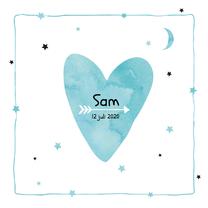 Geboortekaartjes - Geboortekaartje watercolour Sam