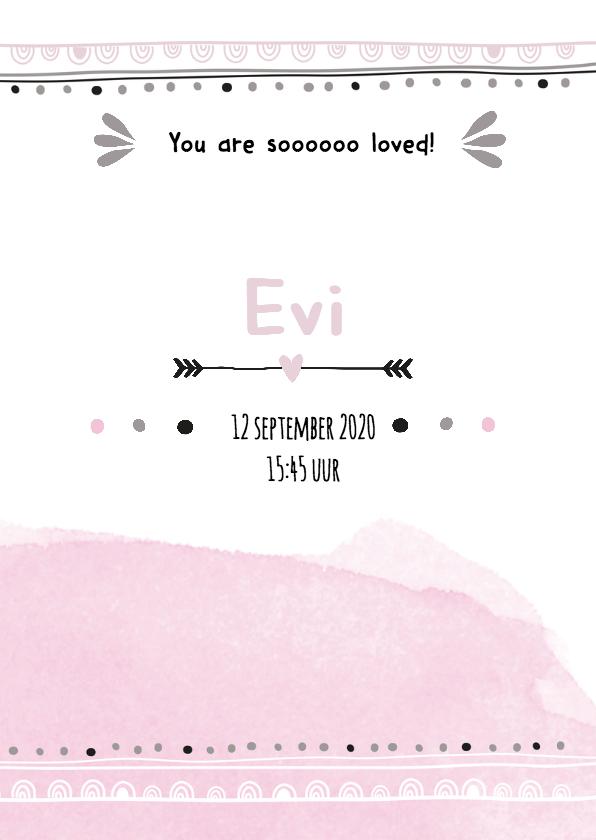 Geboortekaartje watercolour trendy Evi 3