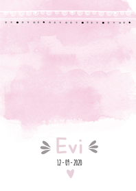 Geboortekaartjes - Geboortekaartje watercolour trendy Evi