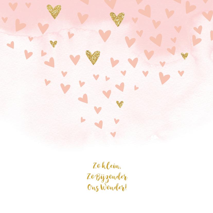 Geboortekaartje waterverf gouden hartjes meisje 2
