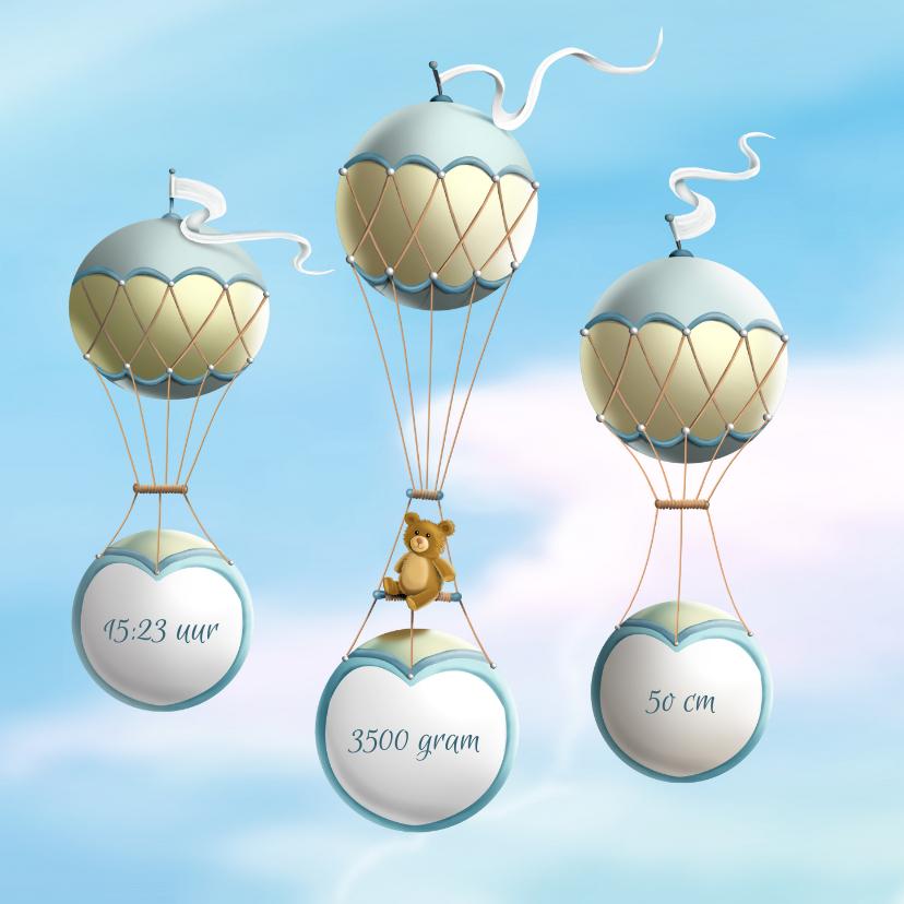 Geboortekaartje wieg aan ballonnen 2