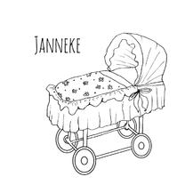 Geboortekaartjes - Geboortekaartje wiegje wit-HR