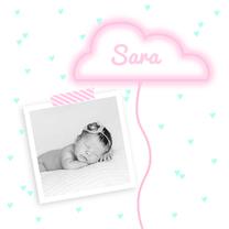 Geboortekaartjes - Geboortekaartje wolkje neon foto