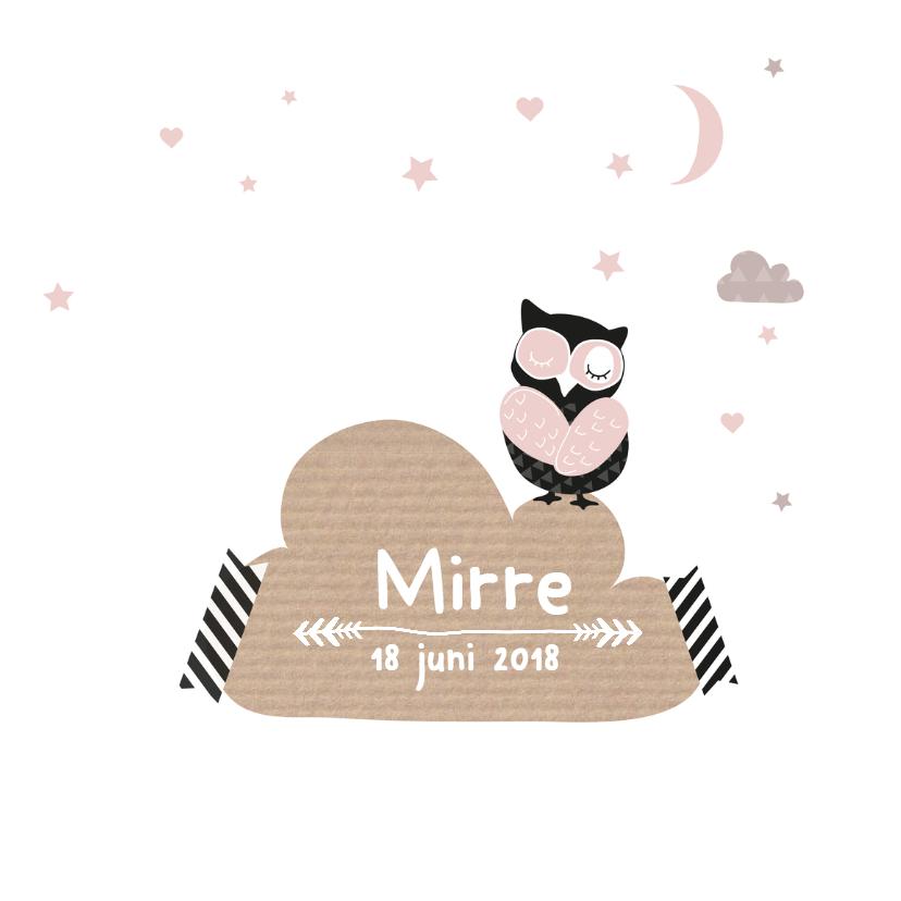 Geboortekaartje wolkjes uil Mirr 3