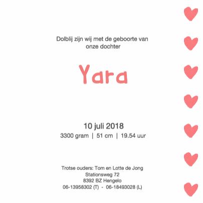 Geboortekaartje Yara 3