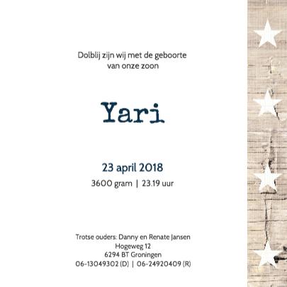 Geboortekaartje Yari 3