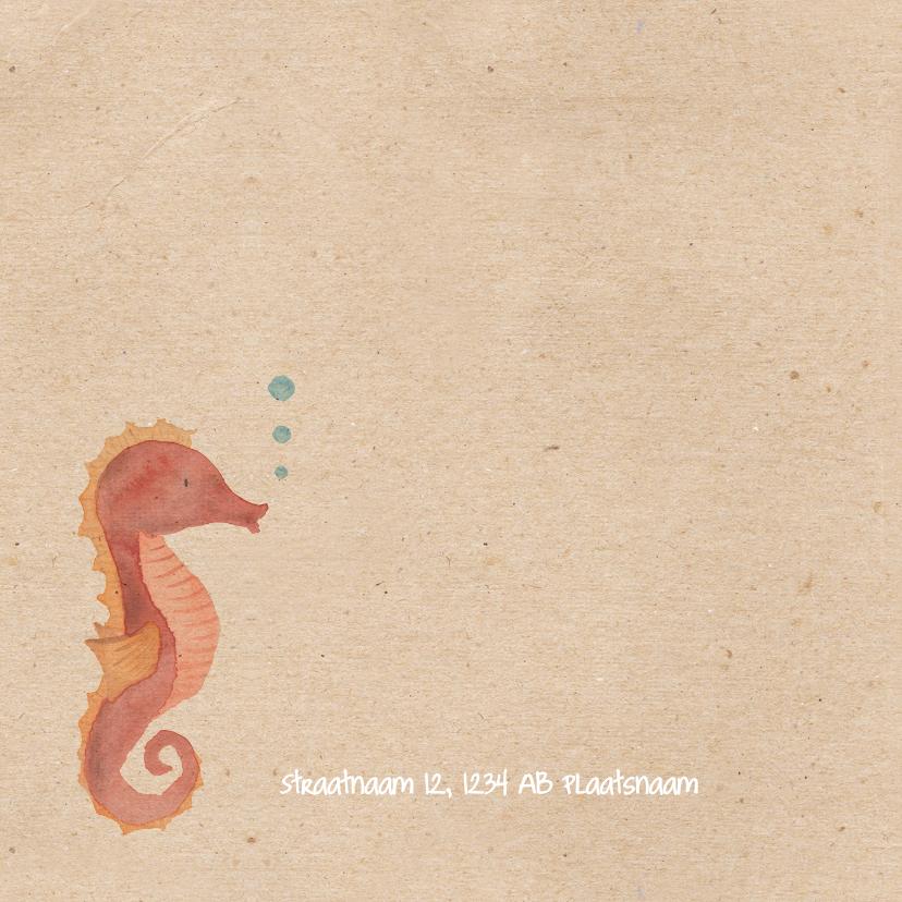 Geboortekaartje zeepaardje in waterverf 2