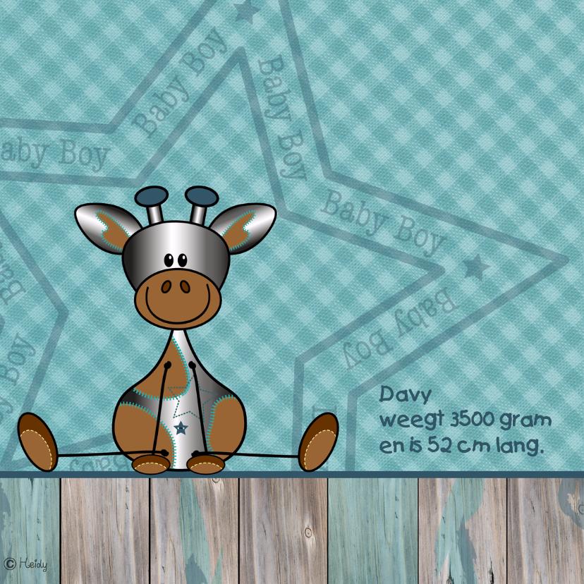 Geboortekaartje zilver girafje  2