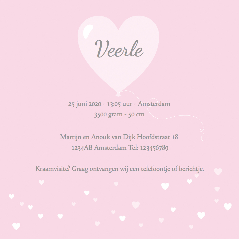 Geboortekaartje zwaantje roze hartjes 3