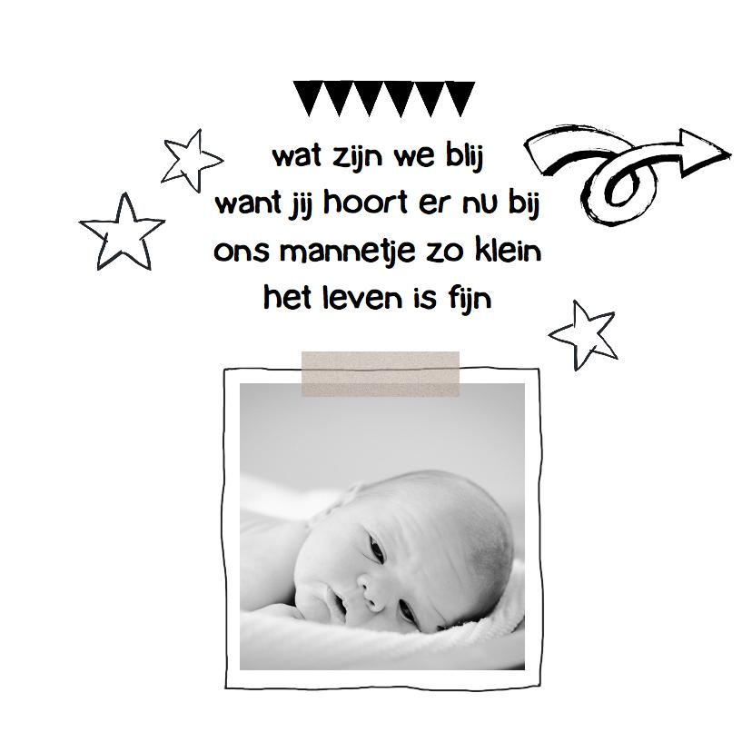 Geboortekaartje zwart wit Jip 2