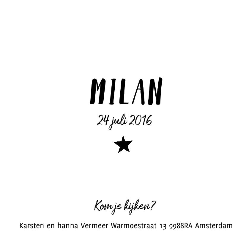 Geboortekaartje zwart wit Milan 3