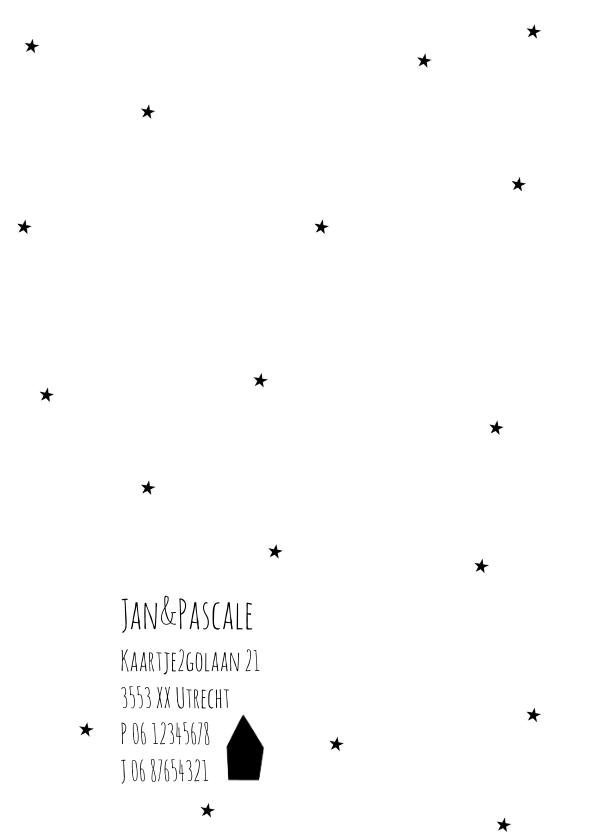 Geboortekaartje zwart-wit sterretjes 2
