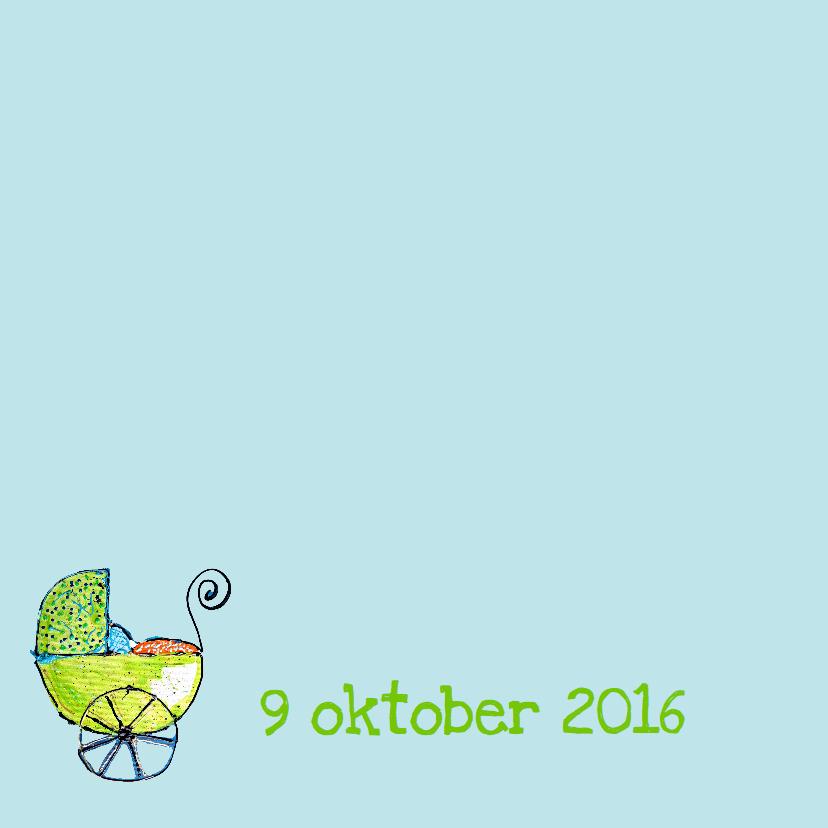 Geboortjekaartje jongen kinderwagen 2