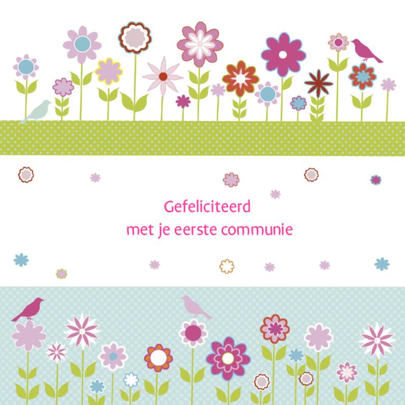 gefeliciteerd met je communie gefeliciteerd communie bloemen strak | Kaartje2go gefeliciteerd met je communie