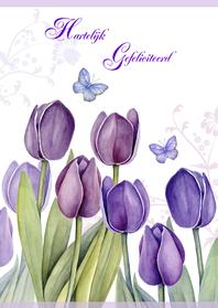 Verjaardagskaarten - Gefeliciteerd met mooie tulpen