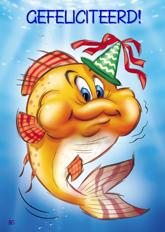 gefeliciteerd vis Gefeliciteerd oranje vis met feesthoed | Kaartje2go gefeliciteerd vis