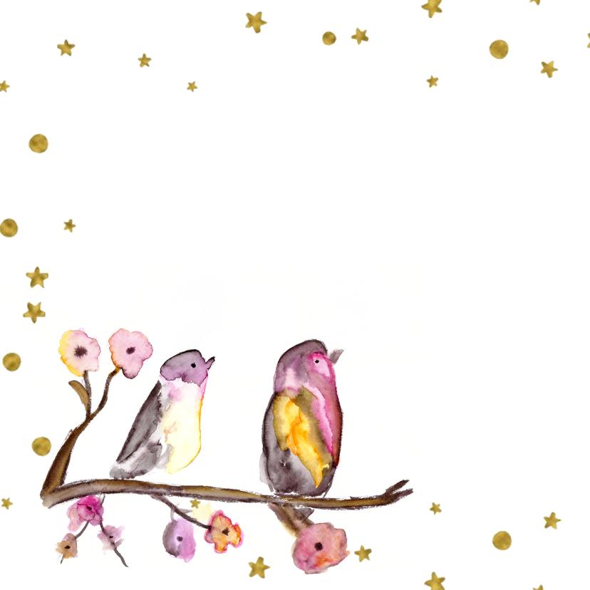 Getrouwd! Felicitatie kaart 2 vogels op een takje  2