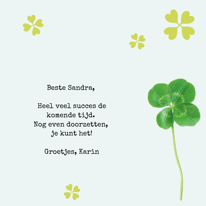 Good Luck kaart botanisch met klavertjes vier 3