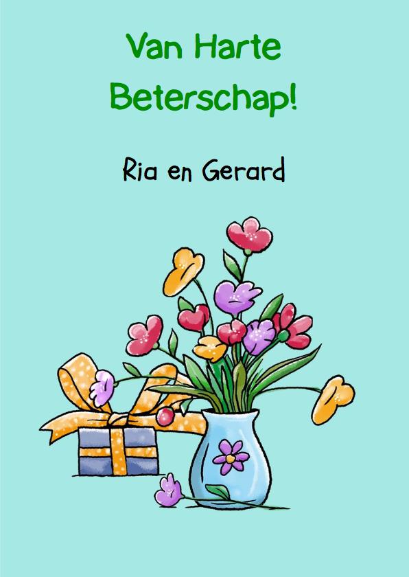 Grappige beterschapskaart kikker met bloemen 3