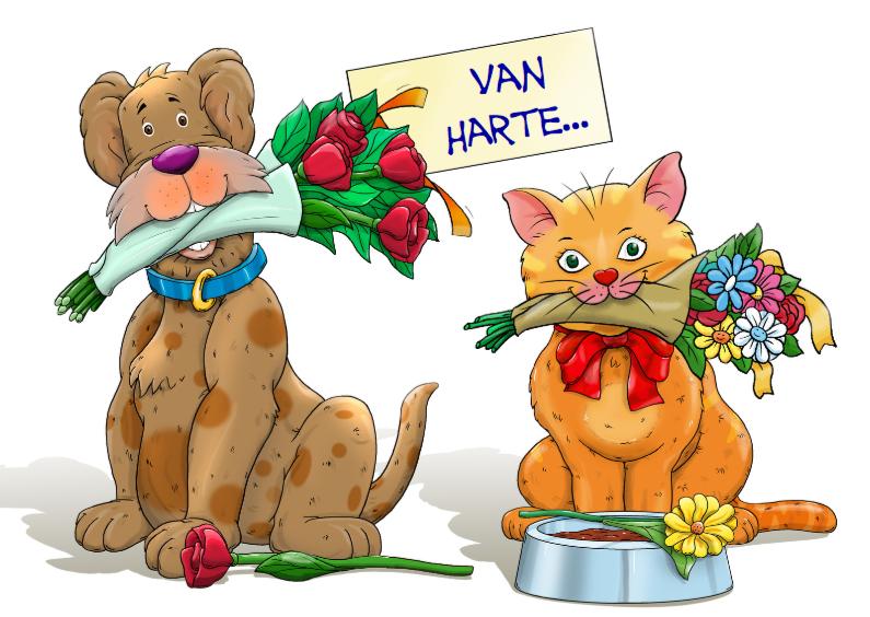Grappige Felicitatiekaart Met Hond En Kat Met Kaartje2go