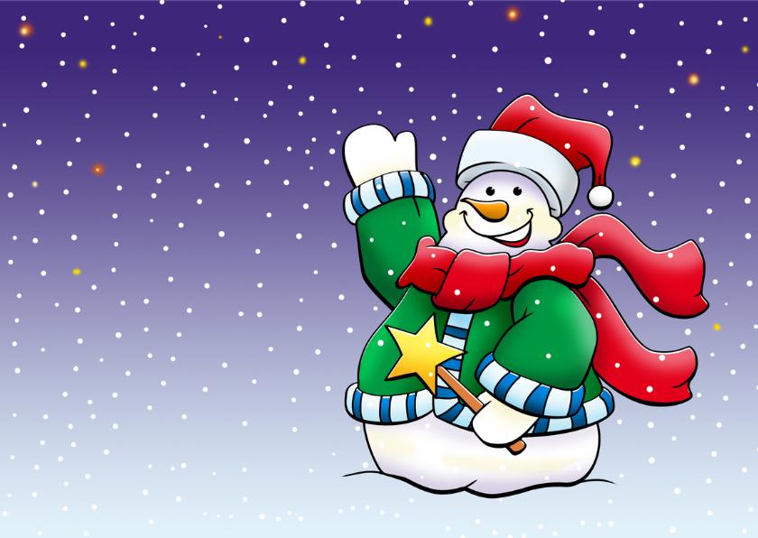Grappige kerstkaart met 2 warm geklede sneeuwpoppen 3