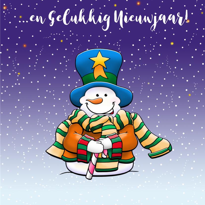 Grappige kerstkaart met kernmannetjes die sneeuwpop maken 3