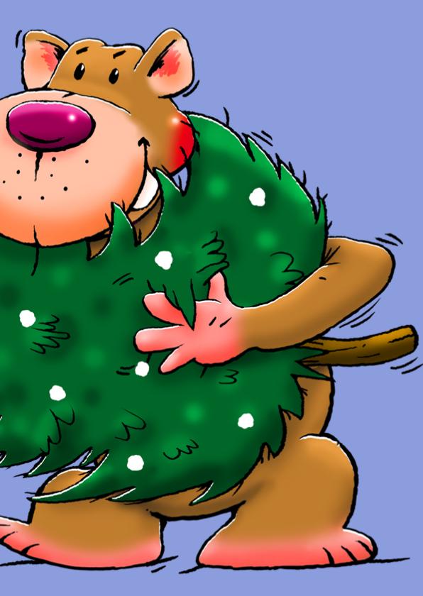 Grappige kerstkaart met leuke beer en kerstboom 3