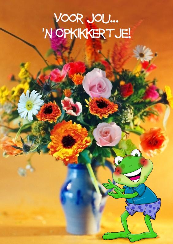 Fabulous Grappige opkikker met bloemen in vaas - Beterschapskaarten  #RR-72