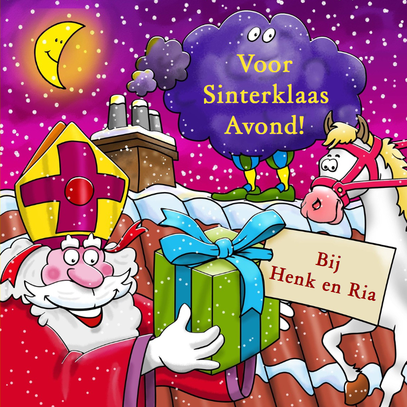 Grappige Sinterklaaskaart uitnodiging voor Sinterklaas avond 3