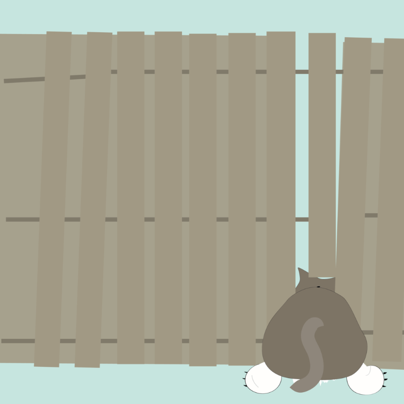 Grappige sterkte, succeskaart met kat klem tussen schutting  2