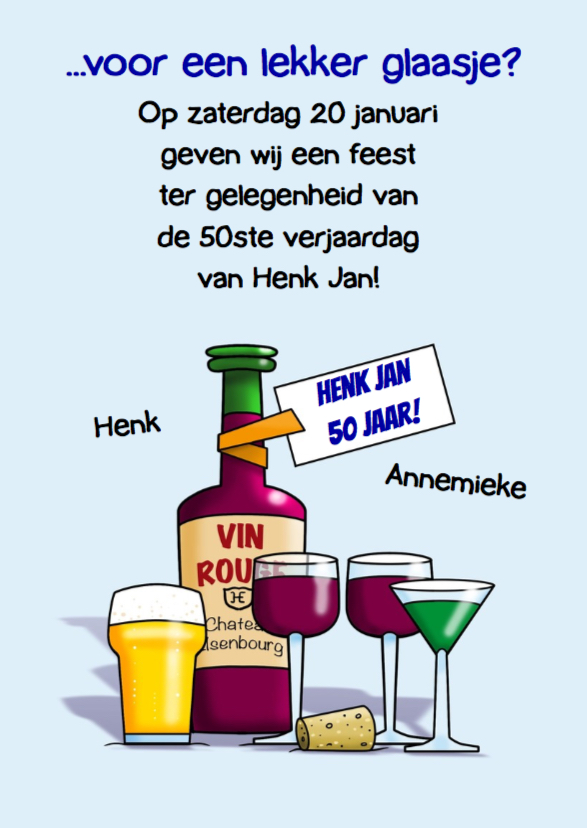 Grappige uitnodiging olifant met glazen bier en wijn 3