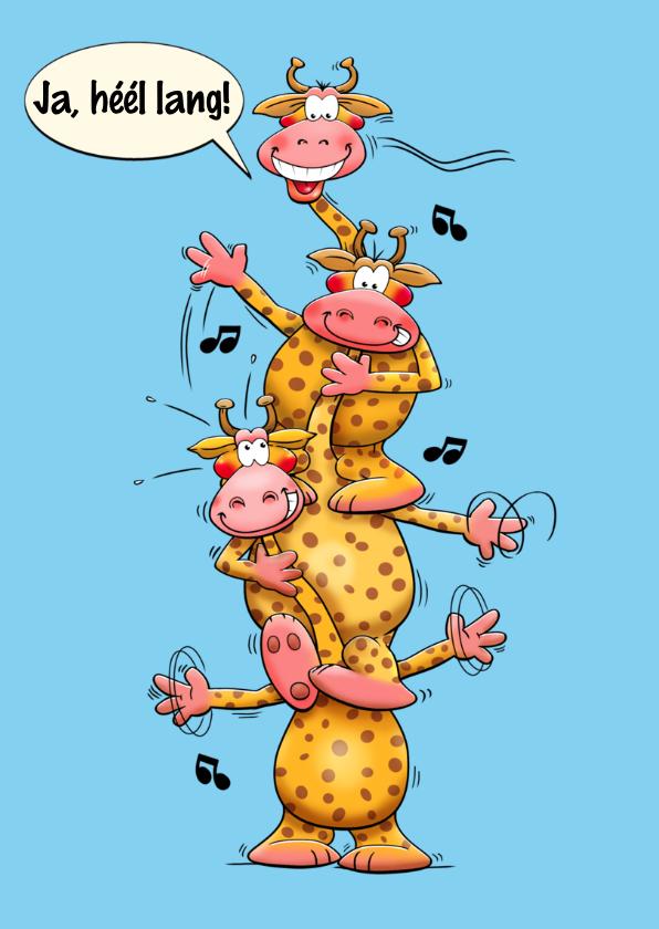 Grappige verjaardagskaart giraffen met lange nekken 3