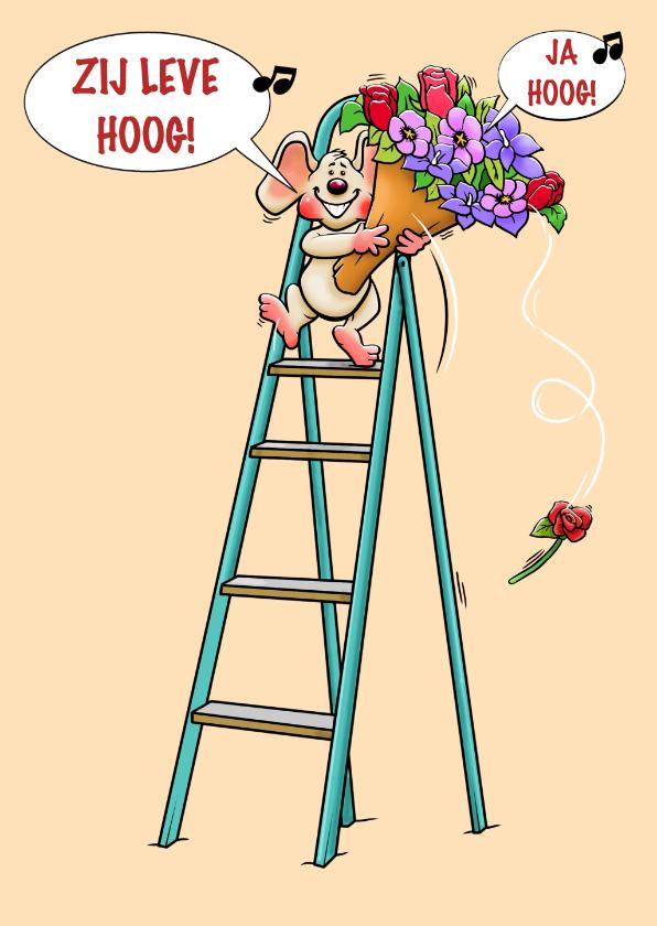 Grappige verjaardagskaart met muis en bos bloemen 3