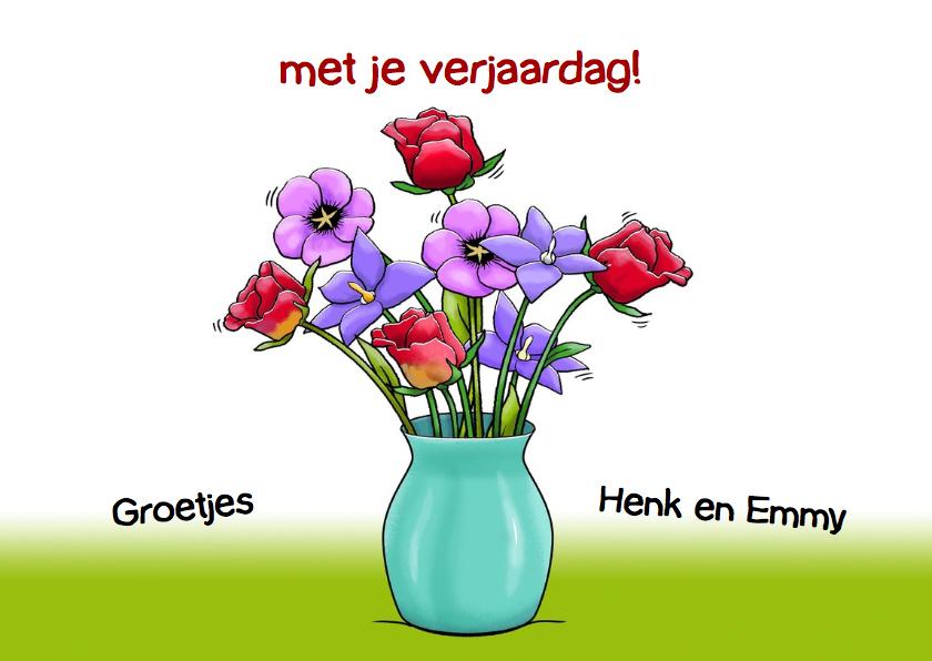 Grappige verjaardagskaart met olifant en een mandje bloemen 3