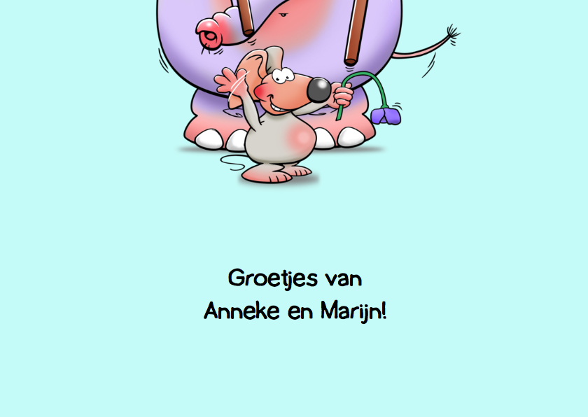 Grappige verjaardagskaart met olifant en muizen 3