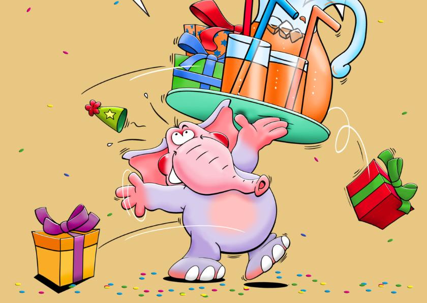 Grappige verjaardagskaart met olifant en pakjes 3