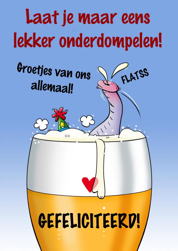 Voorkeur Grappige verjaardagskaart olifant in glas bier  @PF95