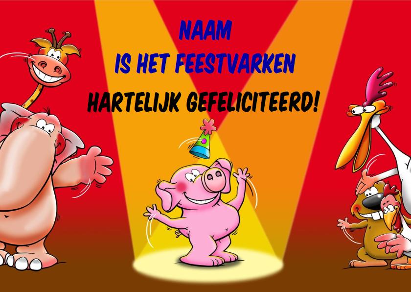Grappige verjaardagskaart voor het feestvarken 3