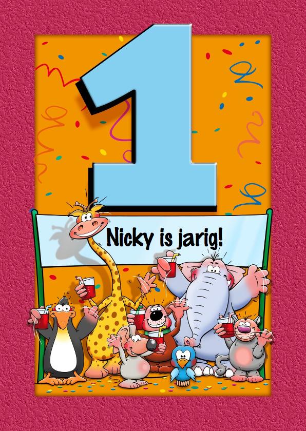 Grappige verjaardagskaart voor kind dat 1 jaar wordt for Poppenhuis kind 2 jaar