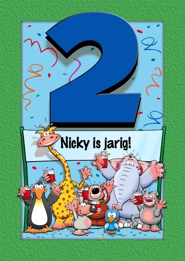 Grappige verjaardagskaart voor kind dat 2 jaar wordt for Poppenhuis kind 2 jaar