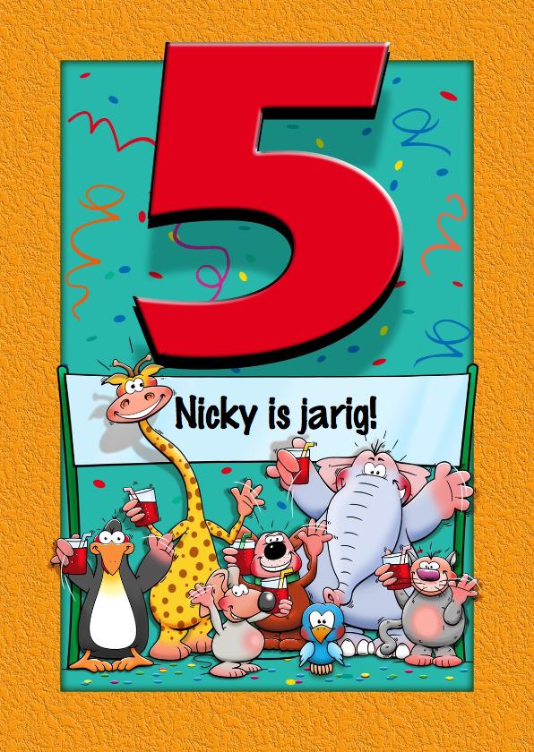 Grappige verjaardagskaart voor kind dat 5 jaar wordt for Poppenhuis kind 2 jaar
