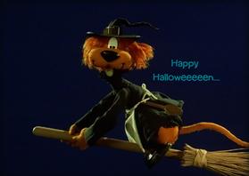 Halloween kaarten - Halloween Loeki heks -A