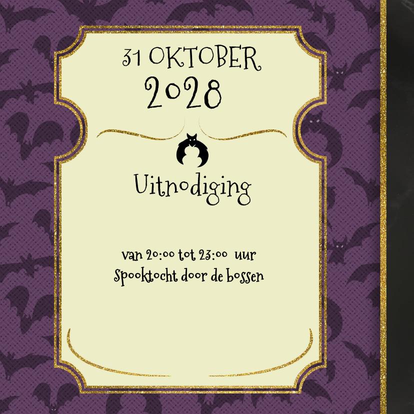 Halloween uitnodiging skelet en heks proosten 3