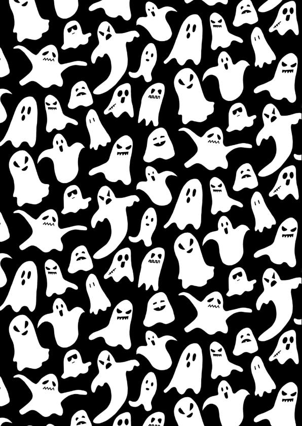 Halloweenfeestje met spooken en oranje waterverf 2