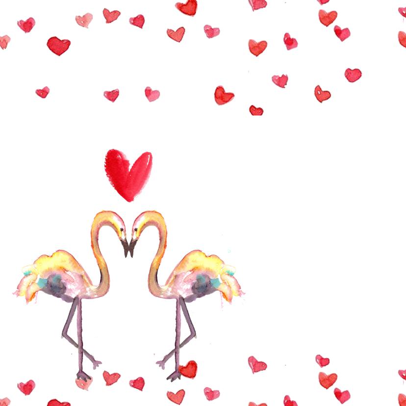 Handgeschilderde Valentijnskaart met flamingo's 2