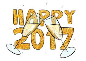 Nieuwjaarskaarten - Happy 2017 champagne