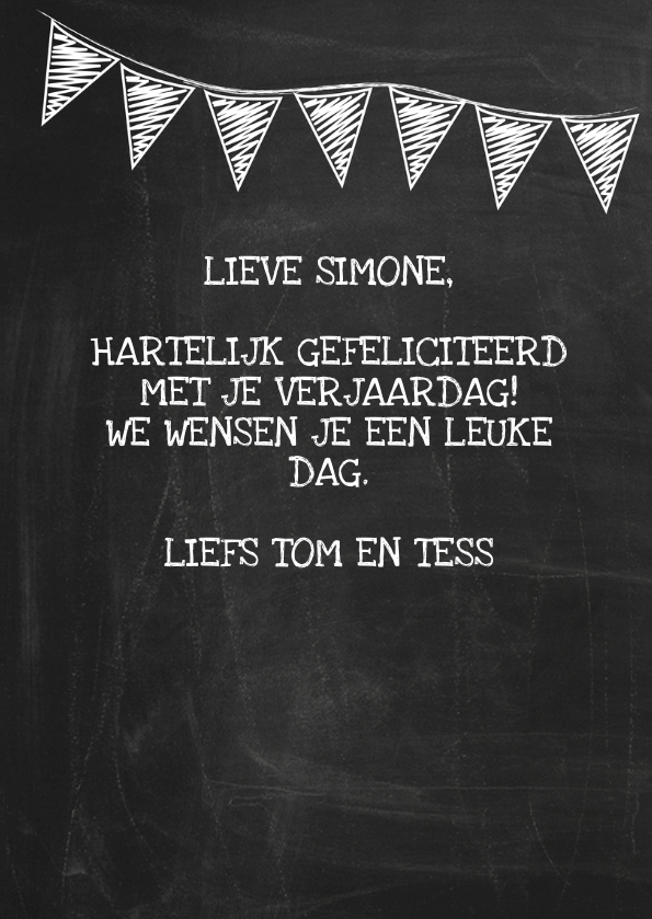 Happy B'day schoolbord vrouw ByF 3