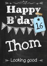 Verjaardagskaarten - Happy B'day schoolkrijt man-ByF