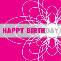 Verjaardagskaarten - Happy birthday bloem roze